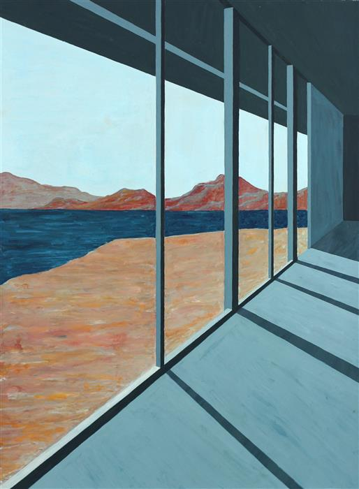 Original art for sale at UGallery.com | Desert Lake II (Architected Landscape 9) by JESSICA ECKER | $1,100 | Gouache painting | 30' h x 22.5' w | http://www.ugallery.com/gouache-painting-desert-lake-ii-architected-landscape-9