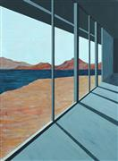 Architecture art,Landscape art,Surrealism art,Representational art,Modern  art,gouache painting,Desert Lake II (Architected Landscape 9)