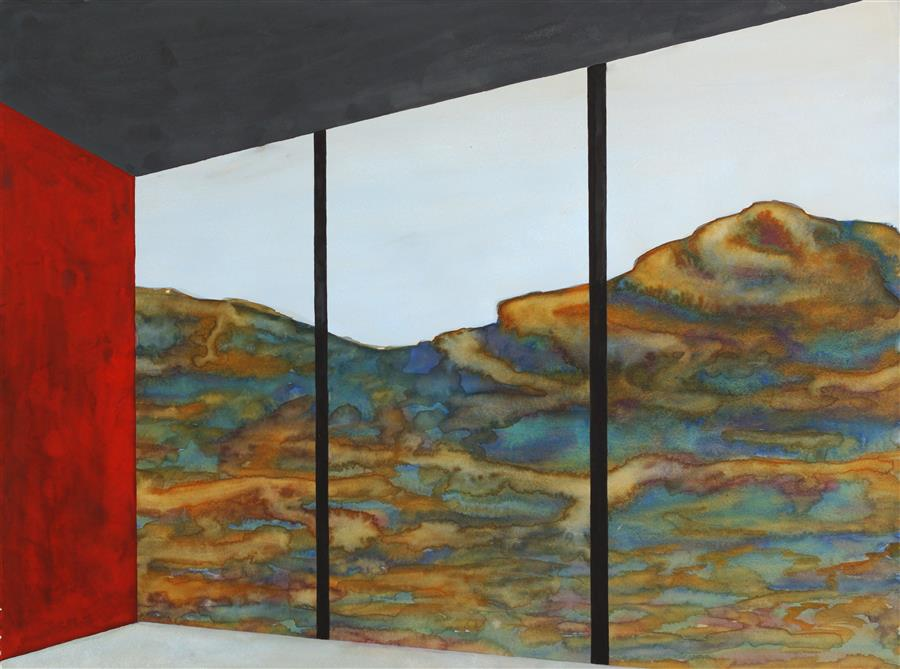Original art for sale at UGallery.com | Red Wall (Architected Landscape 13) by JESSICA ECKER | $1,200 | Watercolor painting | 22.5' h x 30' w | http://www.ugallery.com/watercolor-painting-red-wall-architected-landscape-13