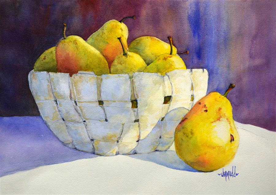 Original art for sale at UGallery.com | Pears in a Basket by JUDY MUDD | $525 | Watercolor painting | 11' h x 15' w | http://www.ugallery.com/watercolor-painting-pears-in-a-basket