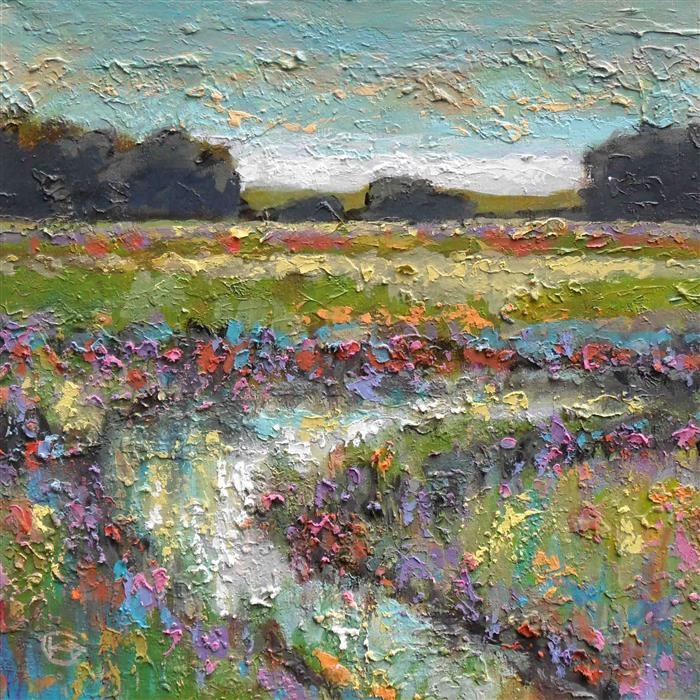 Discover Original Art by Kip Decker | Stream in Spring Pasture acrylic painting | Art for Sale Online at UGallery