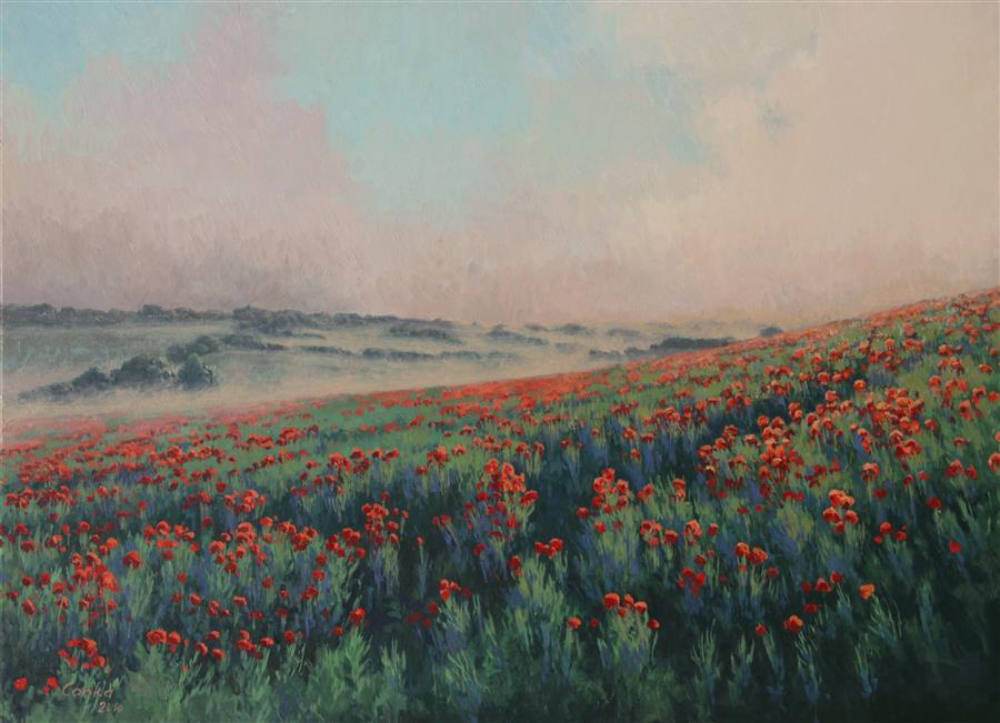 Discover Original Art by Stefan Conka | Misty Field oil painting | Art for Sale Online at UGallery