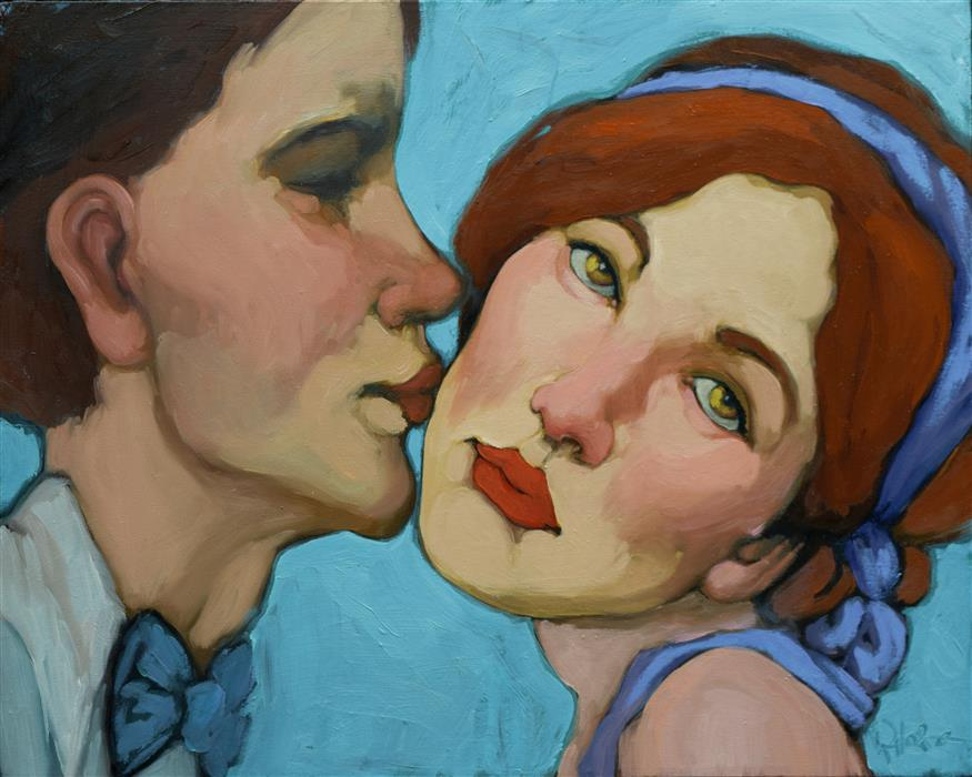Discover Original Art by Kayleen Horsma | The Kiss oil painting | Art for Sale Online at UGallery