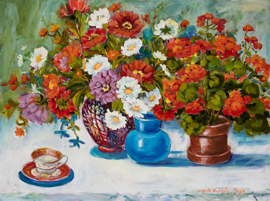 Original art for sale at UGallery.com | Geraniums and Daisies by INGRID DOHM | $3,375 | Acrylic painting | 30' h x 40' w | http://www.ugallery.com/acrylic-painting-geraniums-and-daisies