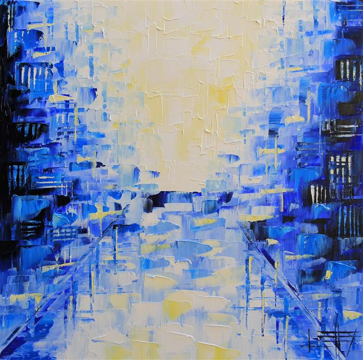 Original art for sale at UGallery.com | Urban Dream by LISA ELLEY | $875 | Oil painting | 24' h x 24' w | http://www.ugallery.com/oil-painting-urban-dream