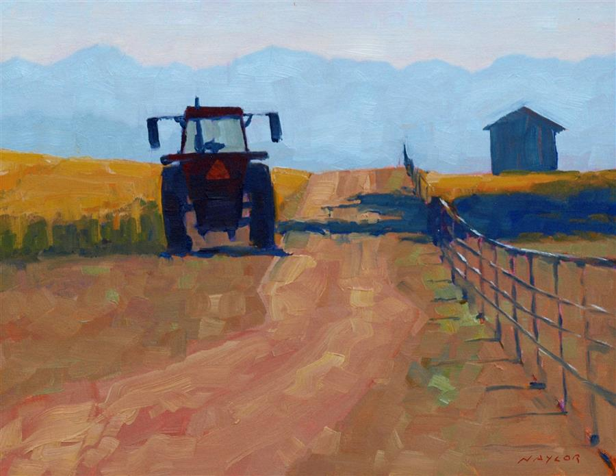 Original art for sale at UGallery.com | Tractor at Rest by RODGERS NAYLOR | $975 | Oil painting | 14' h x 18' w | http://www.ugallery.com/oil-painting-tractor-at-rest