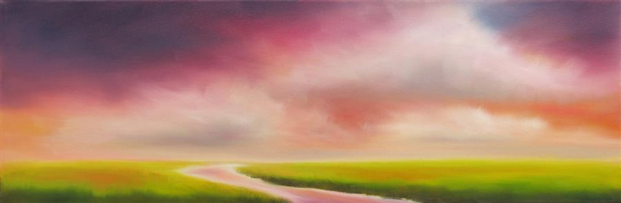 Original art for sale at UGallery.com | Colors in the Marsh Sky by NANCY HUGHES MILLER | $525 | Oil painting | 8' h x 24' w | http://www.ugallery.com/oil-painting-colors-in-the-marsh-sky