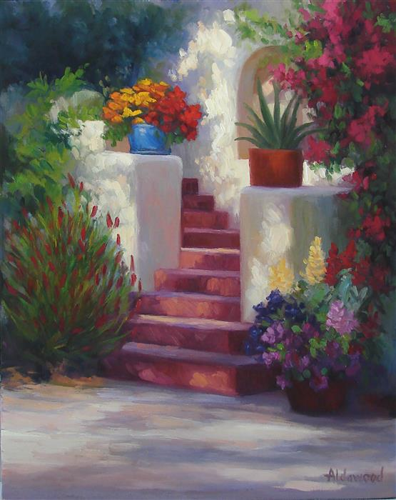 Original art for sale at UGallery.com | Garden Staircase by SHERRI ALDAWOOD | $875 | Oil painting | 20' h x 16' w | http://www.ugallery.com/oil-painting-garden-staircase