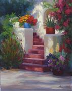 Architecture art,Impressionism art,Flora art,Western art,Representational art,oil painting,Garden Staircase