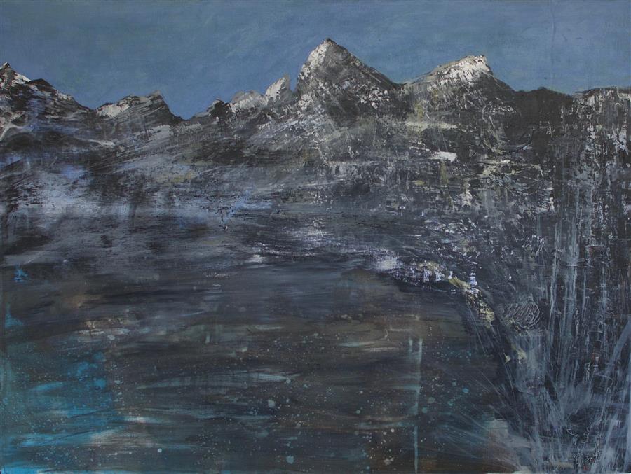Original art for sale at UGallery.com | Boreal Lake by DAVID D'AGOSTINO | $975 | Mixed media artwork | 30' h x 36' w | http://www.ugallery.com/mixed-media-artwork-boreal-lake