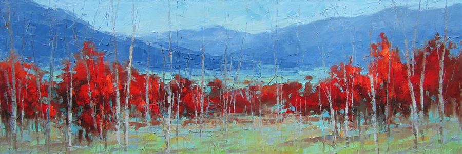 Discover Original Art by Tricia May | Crimson Landscape #1 oil painting | Art for Sale Online at UGallery