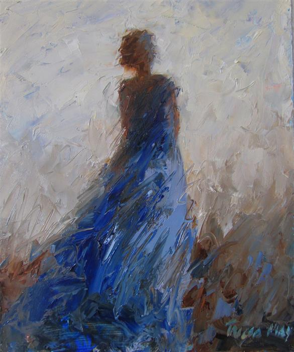 Original art for sale at UGallery.com | Woman with the Blue Dress On by TRICIA MAY | $325 | Oil painting | 10' h x 8' w | http://www.ugallery.com/oil-painting-woman-with-the-blue-dress-on