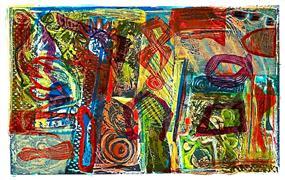 Abstract art,Expressionism art,Non-representational art,printmaking,Buried Treasure 1