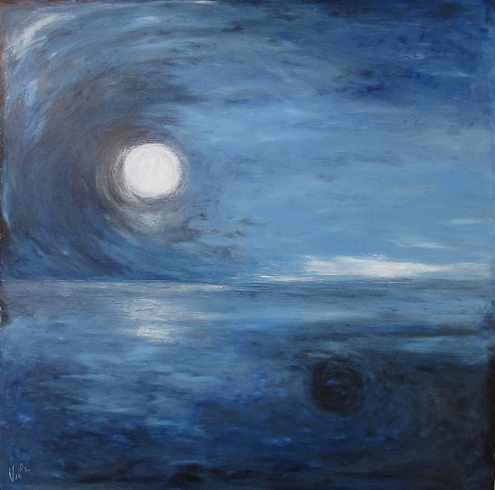 Original art for sale at UGallery.com | Moon Shadow by VALERIE BERKELY | $300 | Oil painting | 12' h x 12' w | http://www.ugallery.com/oil-painting-moon-shadow