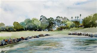 Impressionism art,Landscape art,Representational art,watercolor painting,East Bay