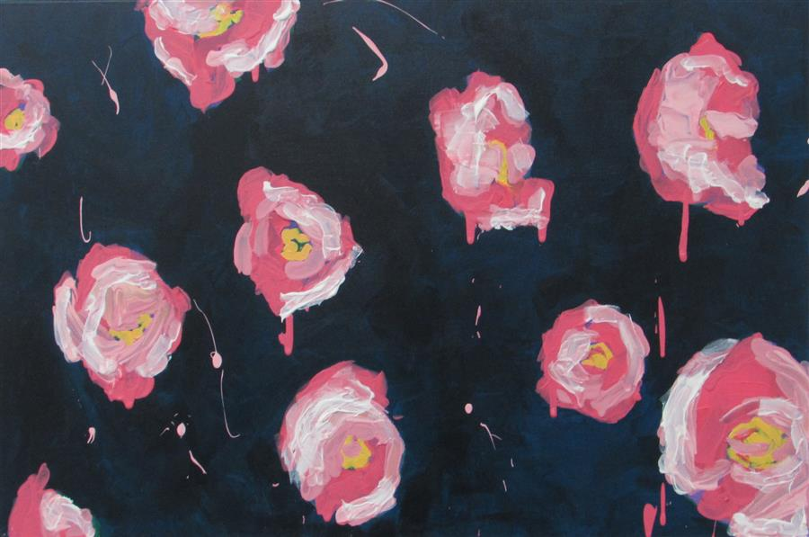 Discover Original Art by Megan Coonelly | Navy Roses acrylic painting | Art for Sale Online at UGallery