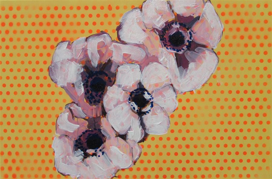 Discover Original Art by Megan Coonelly | Anemones over Polka Dots acrylic painting | Art for Sale Online at UGallery