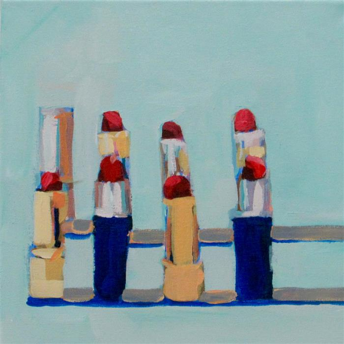 Discover Original Art by Megan Coonelly | Lipstick Lovers (Mint) acrylic painting | Art for Sale Online at UGallery