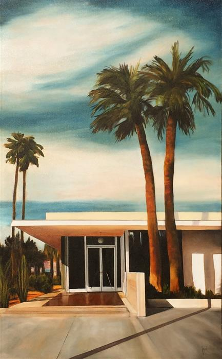 Original art for sale at UGallery.com | A+D Center, Palm Springs by MANDY MAIN | $2,250 | Oil painting | 48' h x 30' w | http://www.ugallery.com/oil-painting-a-d-center-palm-springs
