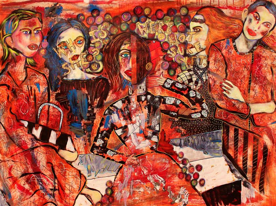 Original art for sale at UGallery.com | Who Is She? We Don't Know Yet. by PENELOPE PRZEKOP | $4,275 | Acrylic painting | 42' h x 54' w | http://www.ugallery.com/acrylic-painting-who-is-she-we-don-t-know-yet