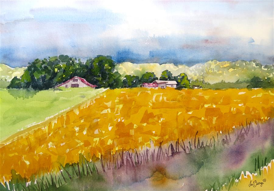 Original art for sale at UGallery.com | Yellow Safflower by NANCY MUREN | $650 | Watercolor painting | 15' h x 21' w | http://www.ugallery.com/watercolor-painting-yellow-safflower