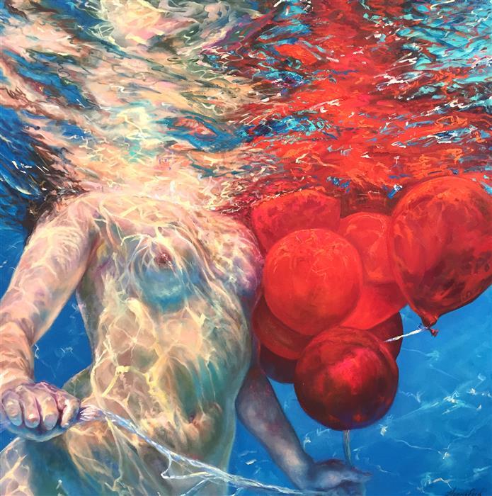 Original art for sale at UGallery.com | Suspension of Disbelief by JENNIFER HANNAFORD | $3,575 | Oil painting | 36' h x 36' w | http://www.ugallery.com/oil-painting-suspension-of-disbelief