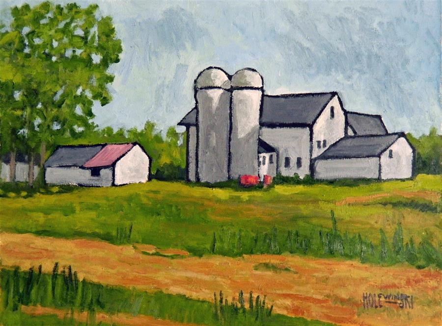 Original art for sale at UGallery.com | Farm in Colts Neck by ROBERT  HOLEWINSKI | $1,475 | Oil painting | 17' h x 23' w | http://www.ugallery.com/oil-painting-farm-in-colts-neck