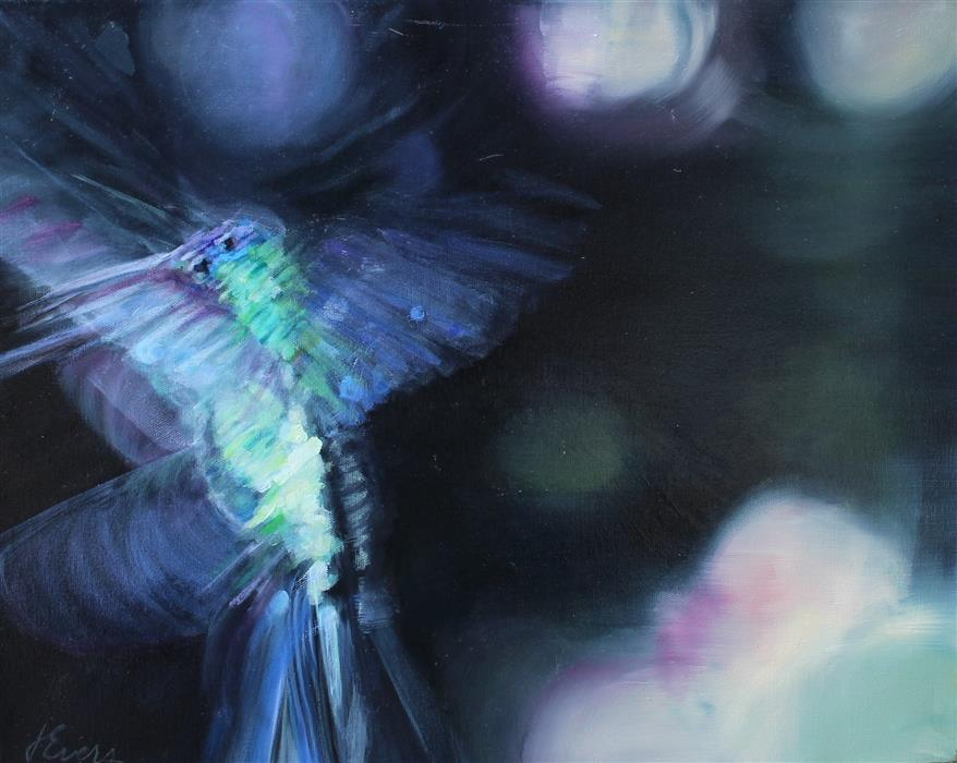 Original art for sale at UGallery.com | Anna's Hummingbird by JOANNE EVERS | $925 | Oil painting | 16' h x 20' w | http://www.ugallery.com/oil-painting-anna-s-hummingbird