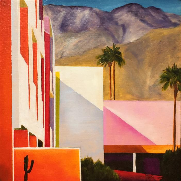 Discover Original Art by Mandy Main | Saguaro Hotel, Palm Springs oil painting | Art for Sale Online at UGallery
