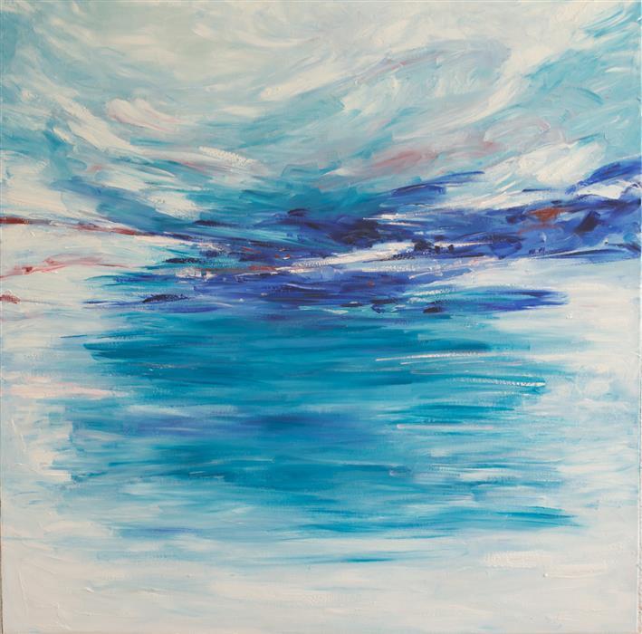 Original art for sale at UGallery.com | Oceanside by KAJAL ZAVERI | $2,500 | Oil painting | 36' h x 36' w | http://www.ugallery.com/oil-painting-oceanside