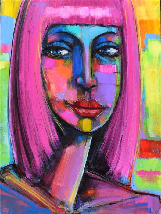 Discover Original Art by Allen Wittert | Amber in Pink acrylic painting | Art for Sale Online at UGallery