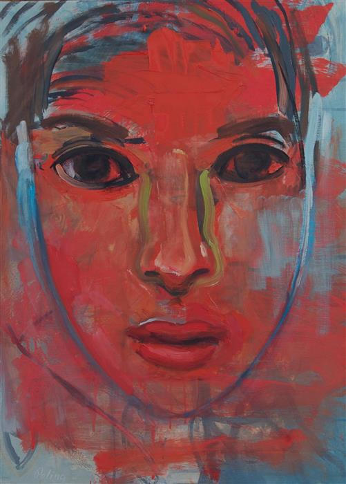 Original art for sale at UGallery.com | Red Face by STEPHEN POLING | $1,175 | Oil painting | 22' h x 16' w | http://www.ugallery.com/oil-painting-red-face