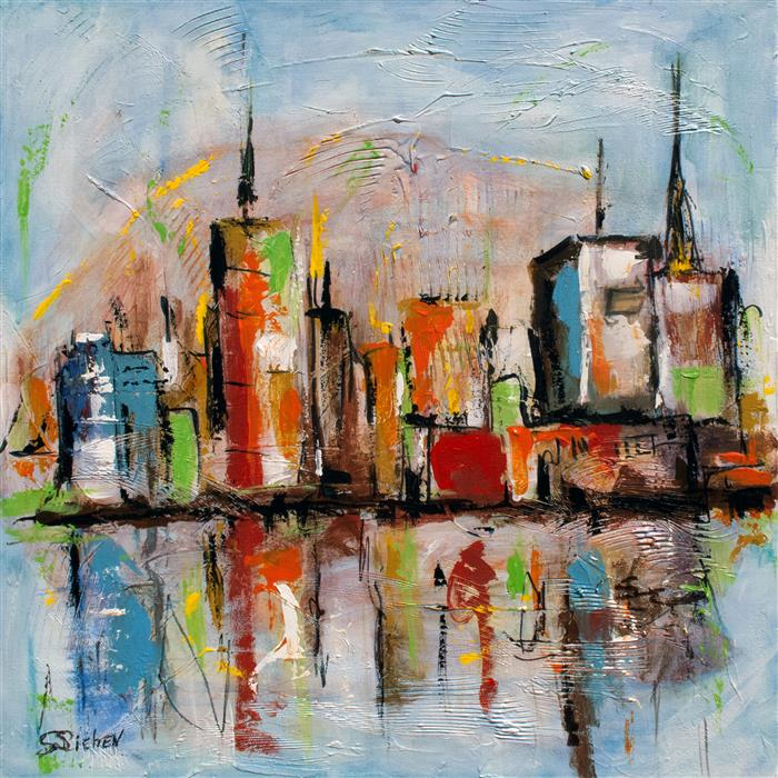 Discover Original Art by Sharon Sieben | Skyline VII acrylic painting | Art for Sale Online at UGallery