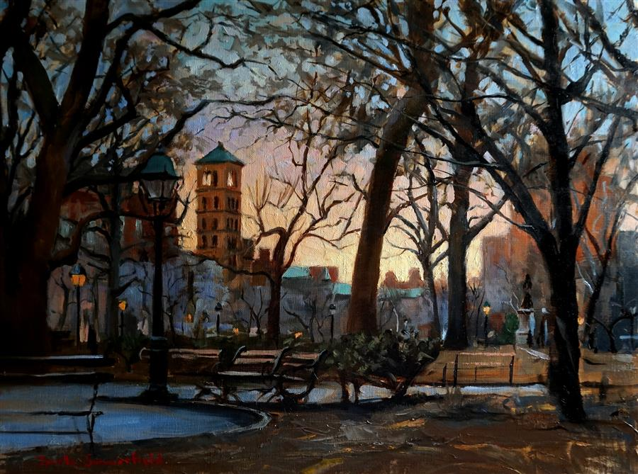 Original art for sale at UGallery.com | Washington Square Park at Dusk by JONELLE SUMMERFIELD | $825 | Oil painting | 18' h x 24' w | http://www.ugallery.com/oil-painting-washington-square-park-at-dusk