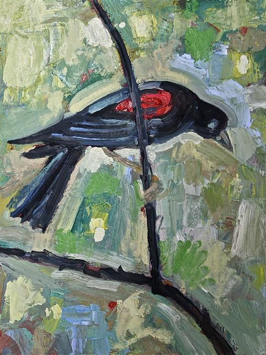 Original art for sale at UGallery.com | Red Winged Blackbird by JAMES HARTMAN | $275 | Oil painting | 12' h x 9' w | http://www.ugallery.com/oil-painting-red-winged-blackbird-45131