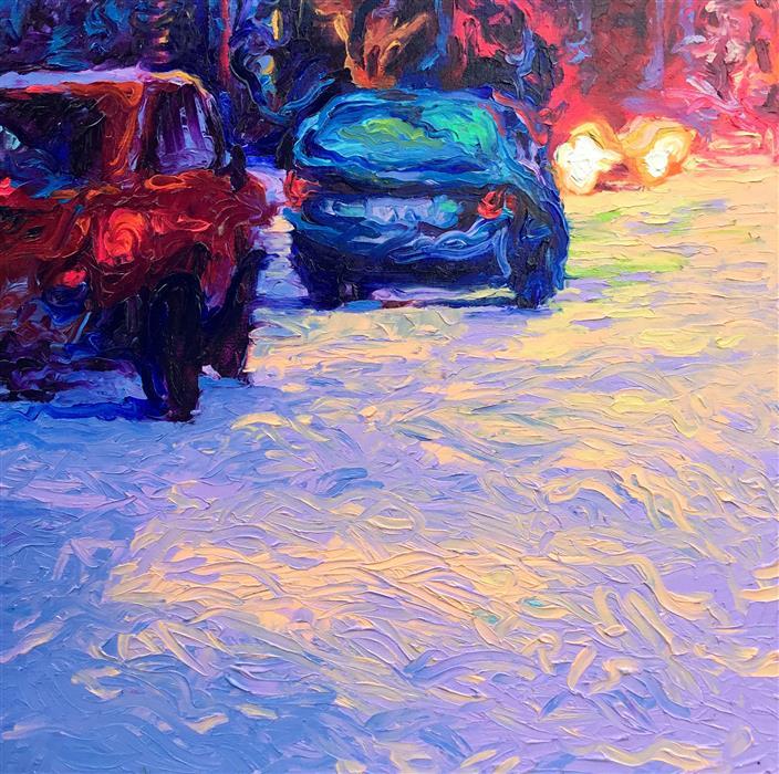 Original art for sale at UGallery.com | Purple Avenue by IRIS SCOTT | $3,300 | Oil painting | 24' h x 24' w | http://www.ugallery.com/oil-painting-purple-avenue