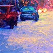 Architecture art,Impressionism art,Travel art,oil painting,Purple Avenue