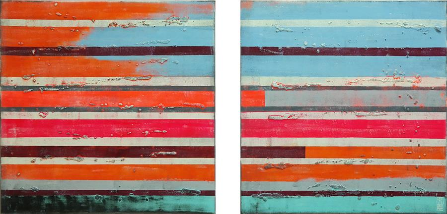 Discover Original Art by Ronald Hunter | Neon Striped XL acrylic painting | Art for Sale Online at UGallery