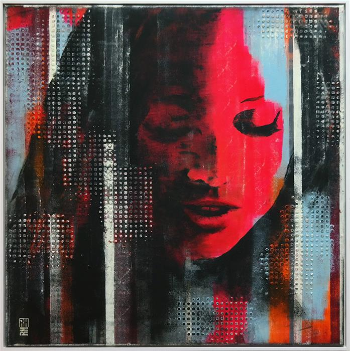 Discover Original Art by Ronald Hunter | Faces Number One - Neon Pop Art Face acrylic painting | Art for Sale Online at UGallery