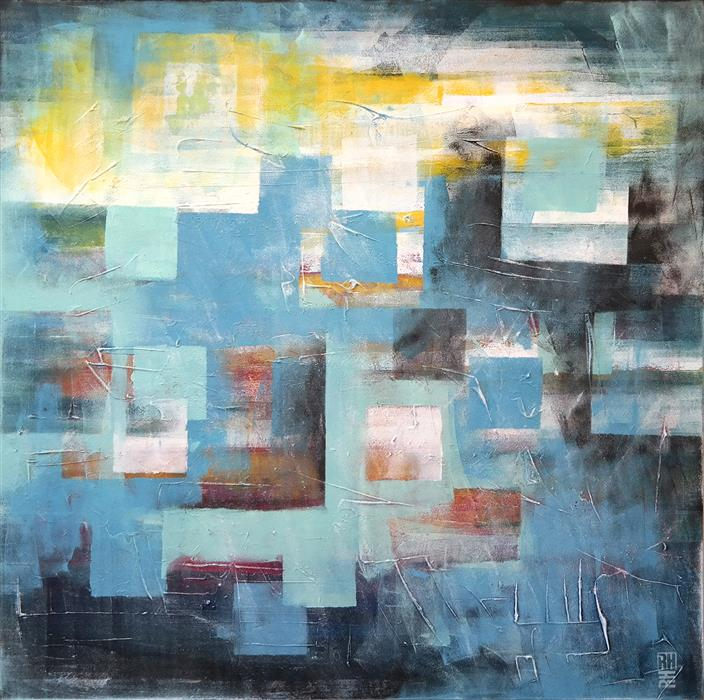 Discover Original Art by Ronald Hunter | Squared City in Blue - XL acrylic painting | Art for Sale Online at UGallery