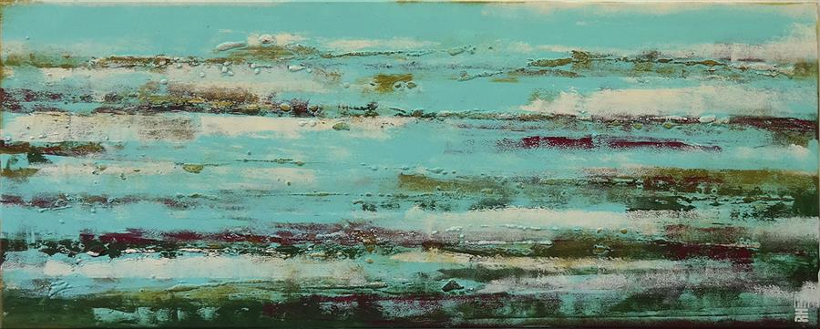 Discover Original Art by Ronald Hunter | Pond Landscape acrylic painting | Art for Sale Online at UGallery