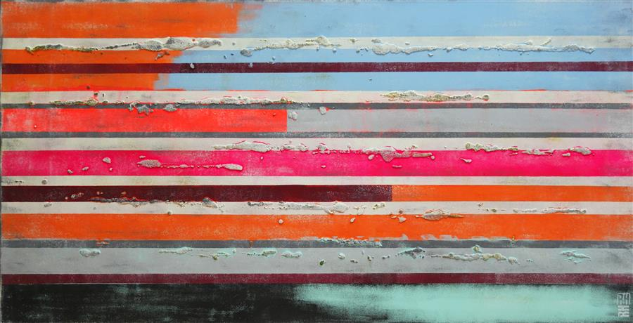 Discover Original Art by Ronald Hunter | Pop Neon Striped Colors acrylic painting | Art for Sale Online at UGallery