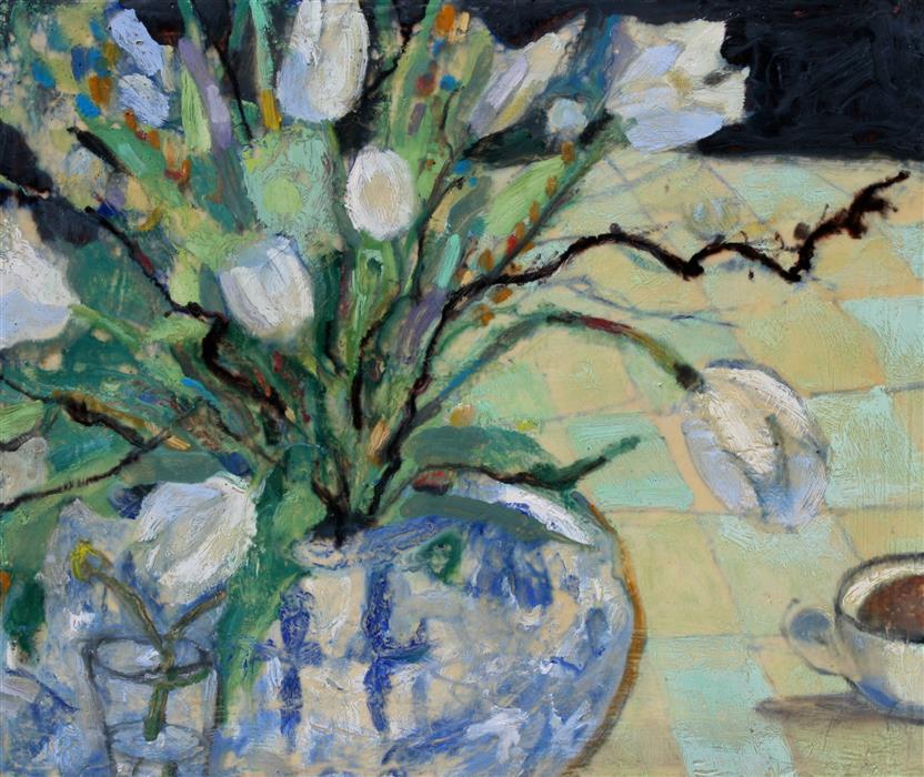 Original art for sale at UGallery.com | White Tulips by JAMES HARTMAN | $825 | Encaustic artwork | 20' h x 24' w | http://www.ugallery.com/encaustic-artwork-white-tulips