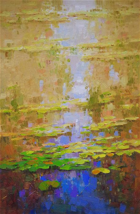Discover Original Art by Vahe Yeremyan | Autumn Pond oil painting | Art for Sale Online at UGallery