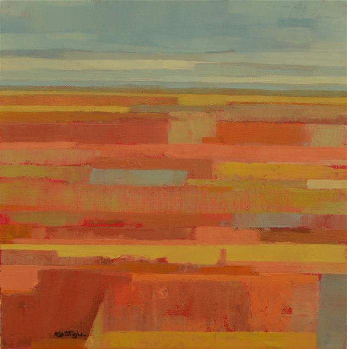 Original art for sale at UGallery.com | Orange Fields 2 by SRINIVAS KATHOJU | $325 | Oil painting | 12' h x 12' w | http://www.ugallery.com/oil-painting-orange-fields-2