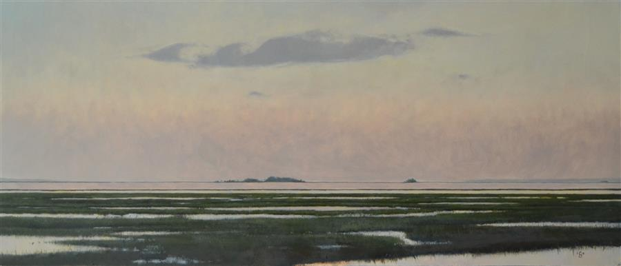 Original art for sale at UGallery.com | Morning over Gray Bay SC by CHRISTOPHER GARVEY | $900 | Oil painting | 12.5' h x 28.5' w | http://www.ugallery.com/oil-painting-morning-over-gray-bay-sc