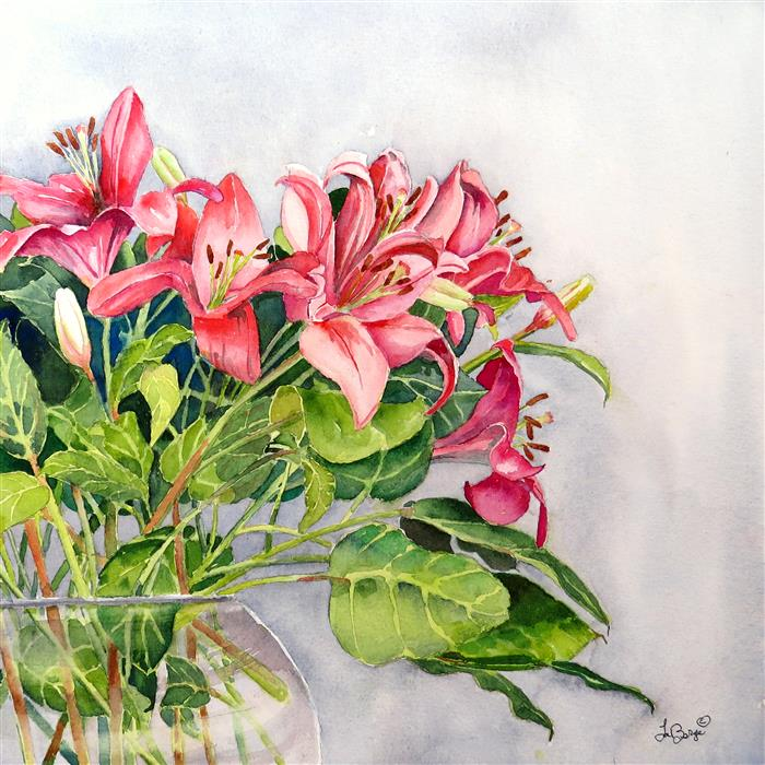 Discover Original Art by Nancy Muren | A Blush of Lilies watercolor painting | Art for Sale Online at UGallery