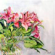 Still Life art,Flora art,Representational art,watercolor painting,A Blush of Lilies