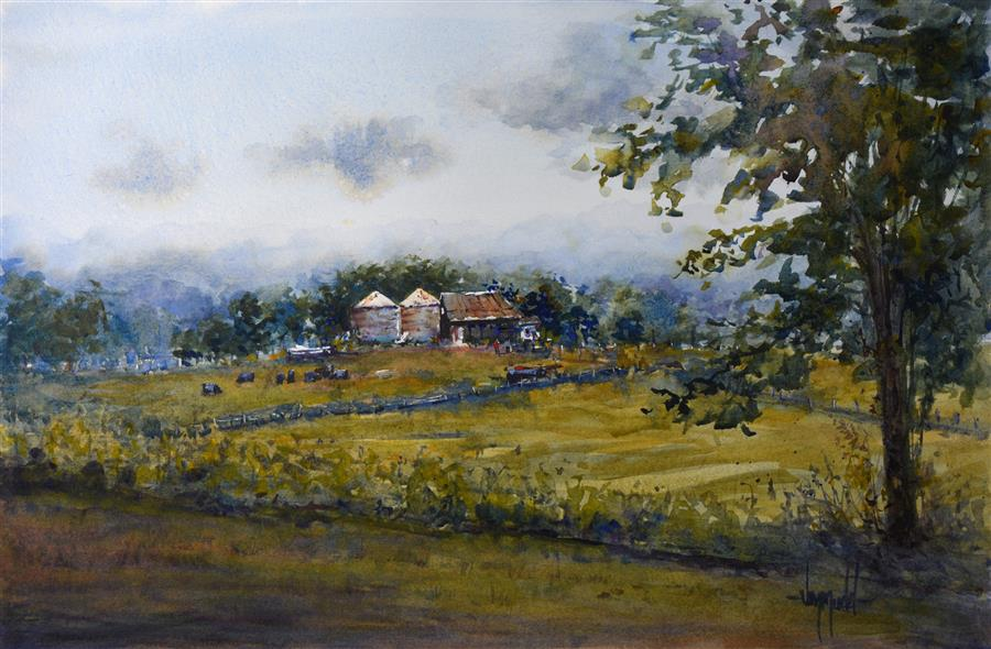 Original art for sale at UGallery.com | Kentucky Farm by JUDY MUDD | $700 | Watercolor painting | 12' h x 18' w | http://www.ugallery.com/watercolor-painting-kentucky-farm