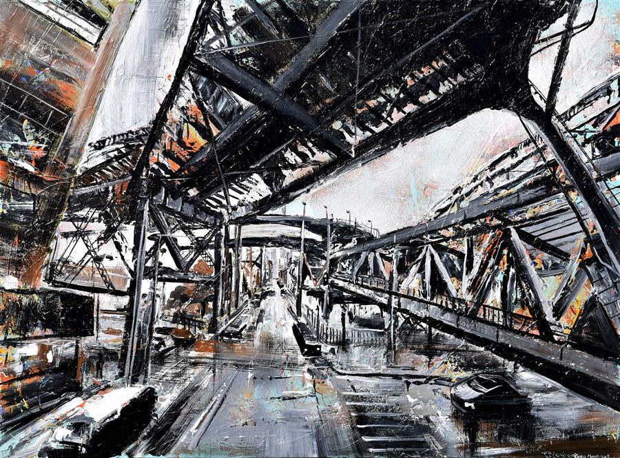 Original art for sale at UGallery.com | Urban Views by PIERO MANRIQUE | $2,675 | Acrylic painting | 36' h x 48' w | http://www.ugallery.com/acrylic-painting-urban-views